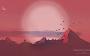 moon, photo manipulation, mountain, birds, Sun