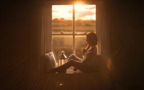girl, sunlight, window, model