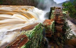 waterfall, nature, water