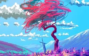 sword, clouds, colorful, mountain, trees, creativity
