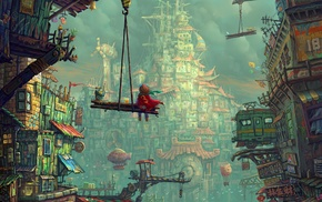 colorful, children, abstract, fantasy art, clouds, city