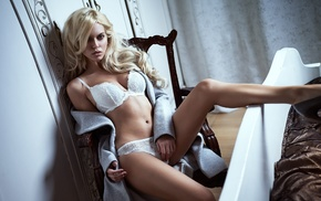 sitting, model, blonde, white lingerie, chair, girl