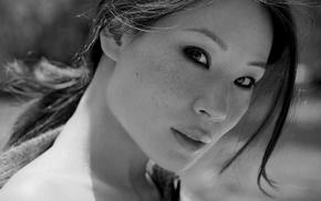 celebrity, monochrome, actress, model, Lucy Liu