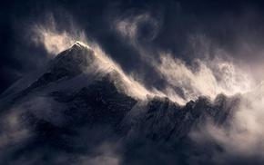 Himalayas, clouds, summit, landscape, sunlight, wind