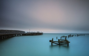pier, water, sea, landscape, old, turquoise