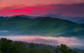 sky, mist, mountain, trees, valley, red