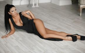 black dress, girl, black heels, on the floor, model, cleavage