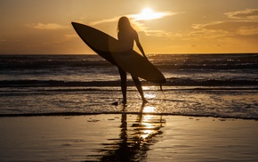 girl, surfing, silhouette, sea