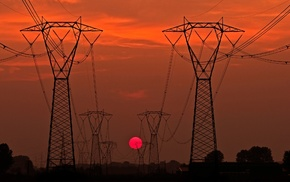 power lines, Sun, sunset