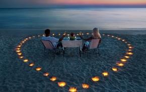 beach, lovers, hearts