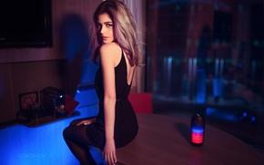 dress, dyed hair, girl, black dress, Ivan Gorokhov