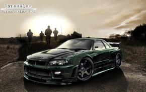 sea, camera, weapon, lens, race cars, Nissan Skyline GT
