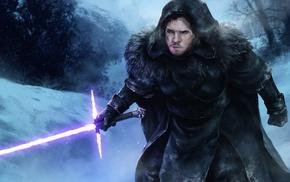 fantasy art, artwork, Jon Snow, lightsaber, Star Wars, Game of Thrones