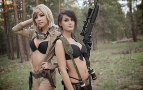 black bras, cleavage, Metal Gear Solid 3 Snake Eater, boobs, black panties, girl