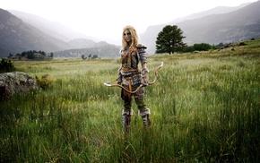 armor, nature, The Elder Scrolls V Skyrim, long hair, cosplay, girl