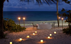 landscape, beach, sea, Vacations, candles