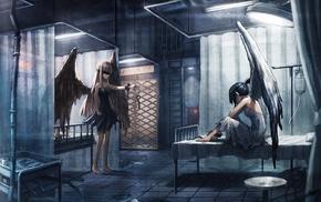 hospital, angel, anime girls, wings