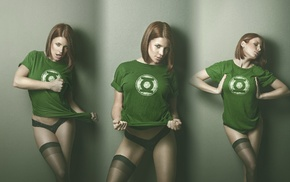 Green Lantern, girl, collage, model