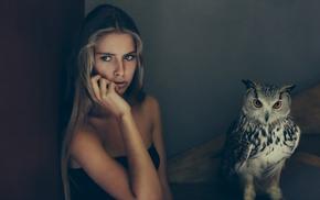 girl, birds, Camille Rochette, owl, animals