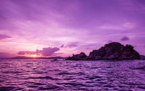 purple, sunset, nature, island, sea
