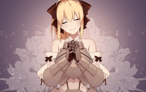 closed eyes, FateGrand Order, gauntlets, lilies, Saber Lily, anime girls