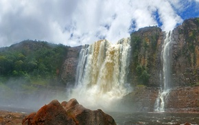 Venezuela, Canaima National Park, landscape, waterfall, cliff, tropical forest