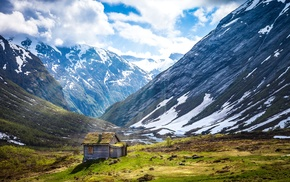 nature, sun rays, landscape, snowy peak, mountain, clouds