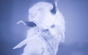 fantasy art, girl, horns