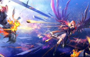 falling, Vocaloid, Megurine Luka, anime girls, anime, debris