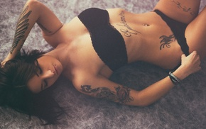 black lingerie, tattoo, closed eyes, pierced navel, on the floor, girl