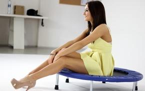 Michaela Isizzu, dress, smiling, brunette, girl