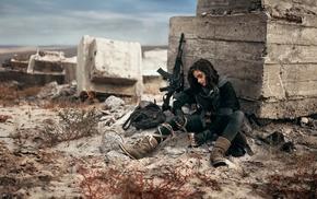 girl with guns, brunette, desert, photography, black dress, AK