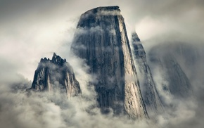 nature, sunlight, clouds, vertical, mist, mountain