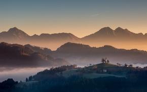 fall, village, Slovenia, nature, landscape, forest