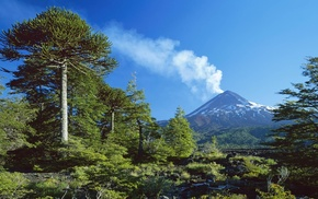 volcano, snowy peak, landscape, Chile, smoke, trees