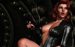 CGI, artwork, Black Widow, girl