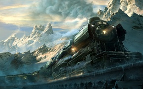 frost, winter, clouds, sunlight, train, landscape
