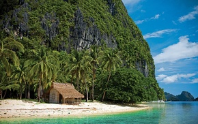 hut, nature, mountain, boat, palm trees, tropical