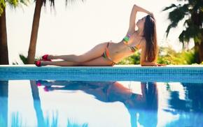 girl, bikini, swimming pool, high heels, looking up, armpits