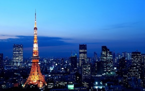 skyline, city lights, Japan, Tokyo Tower