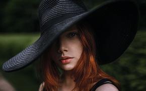 girl, face, Georgiy Chernyadyev, hat, redhead