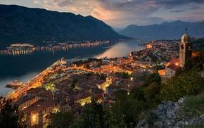 landscape, Kotor town, lights, mountain, Montenegro, building