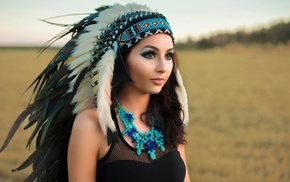 headband, long hair, depth of field, Native American clothing, feathers, makeup