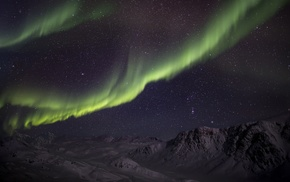 landscape, mountain, snow, aurorae