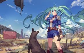 anime girls, dog, Fallout 4, Vocaloid, gun, weapon