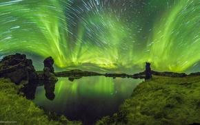 blurred, lake, long exposure, aurorae, stars, reflection