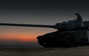 tank, futuristic, sunset