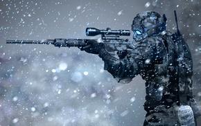 futuristic, sniper rifle, winter, soldier, science fiction, snow