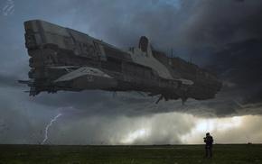 futuristic, spaceship, landscape, science fiction