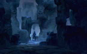 ruin, cave, blue
